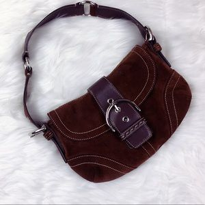 Coach suede satchel with buckle detail